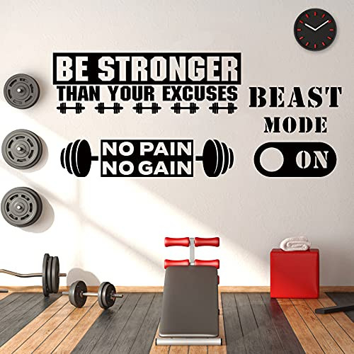 3 Pieces Gym Wall Decal Exercise Wall Sticker Be Stronger