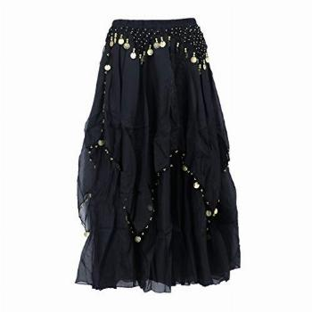 Arsimus Belly Dance Gypsy Skirt with Coins (Small/Medium,