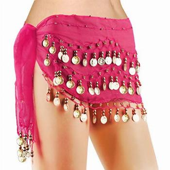COSICS Dance Skirt Wrap, Rose Red Solid Gypsy Belly Dance