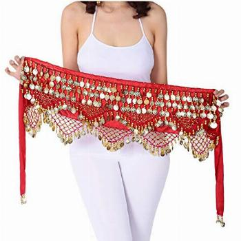 Gypsy Coin Skirt Belly Dance Hip Scarf Red Dance Scarfs Gold