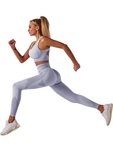 Lrady Womens Workout Outfit 2 Pieces Tracksuit-Seamless