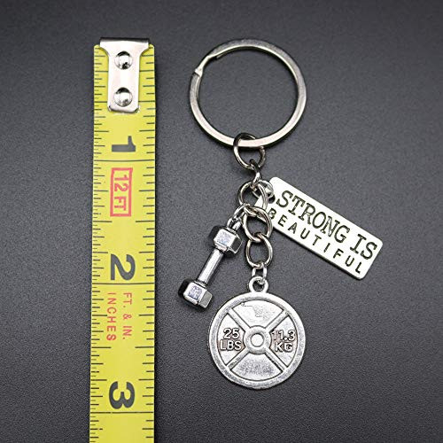Motivational Fitness Keychain with Strong is Beautiful